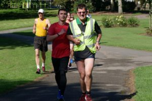 Anthony O'Keefe at Hillsborough parkrun with his guide runner on the day