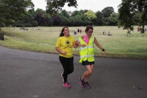 Goalball player Louise Simpson at Fulham Palace parkrun with her guide runner