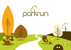 parkrun logo, with landscape foreground