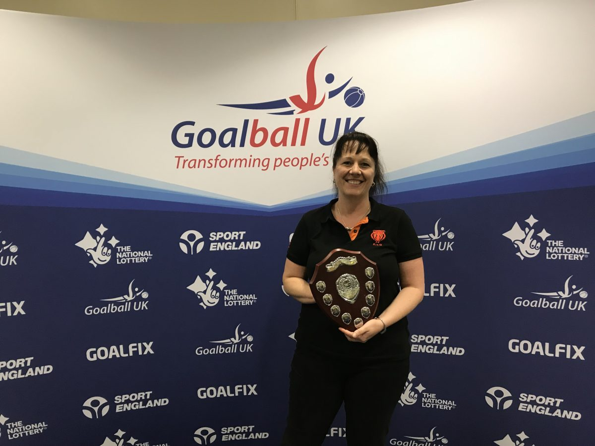 Emma Evans receiving the Keith Lound award at End of Season 2019