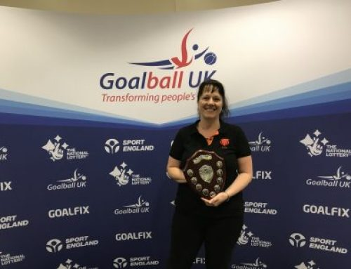 Emma Evans presented with Goalball UK's Keith Lound Memorial Award