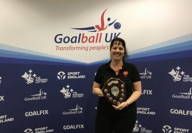 Emma Evans receiving the Keith Lound award at End of Season 2019