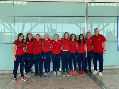 Group photo of GB women and coaches before travelling to the USA for the Paralympic Qualifiers in Fort Wayne