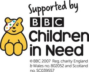 'Supported by' Children in Need logo