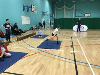 Action shot taken at Goalball UK school competition
