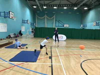 Action shot taken at Goalball UK school competition