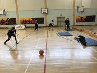 Action shot taken at Goalball UK schools festival