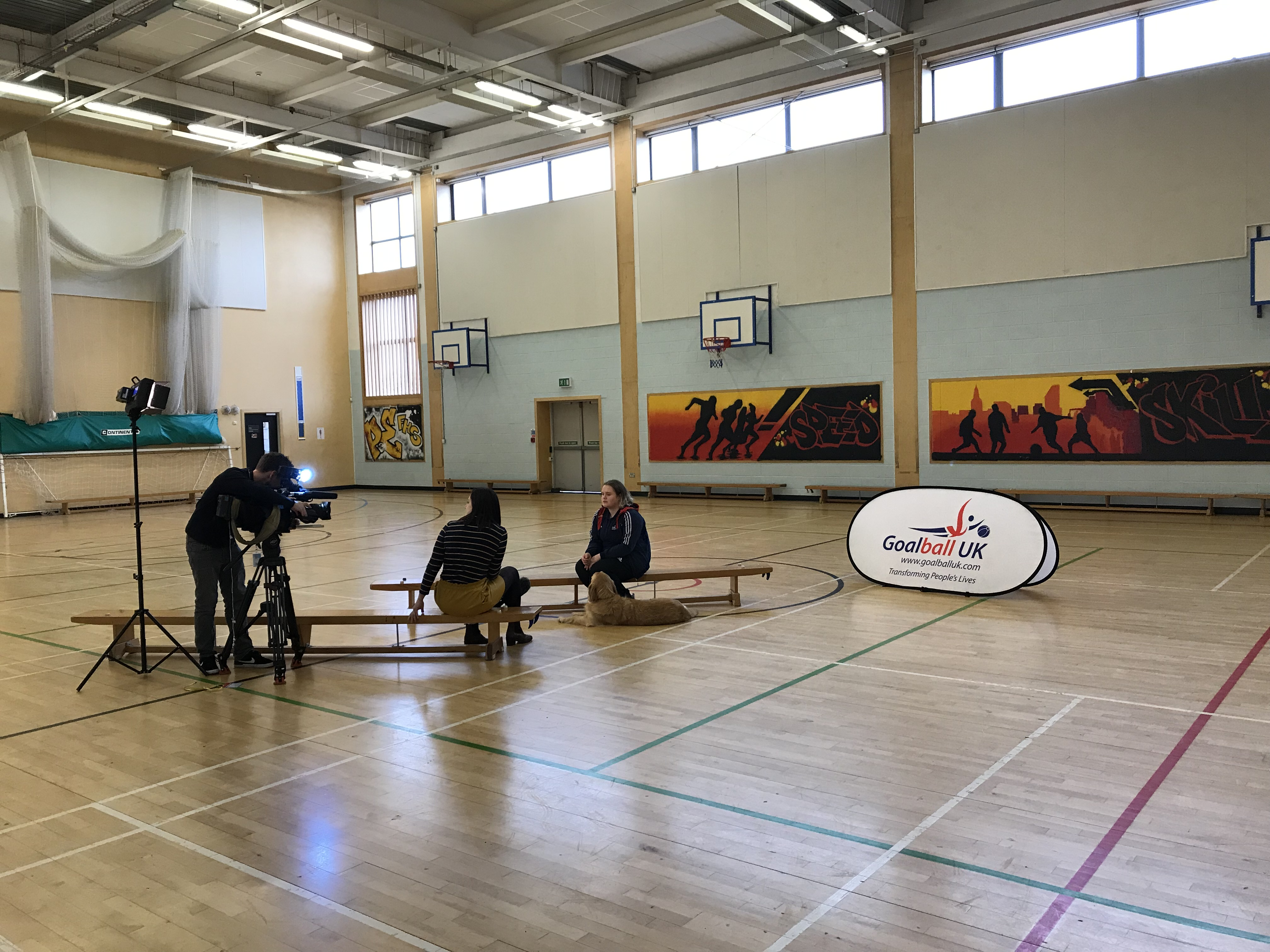 GB player talking to ITV after a school festival in Bristol