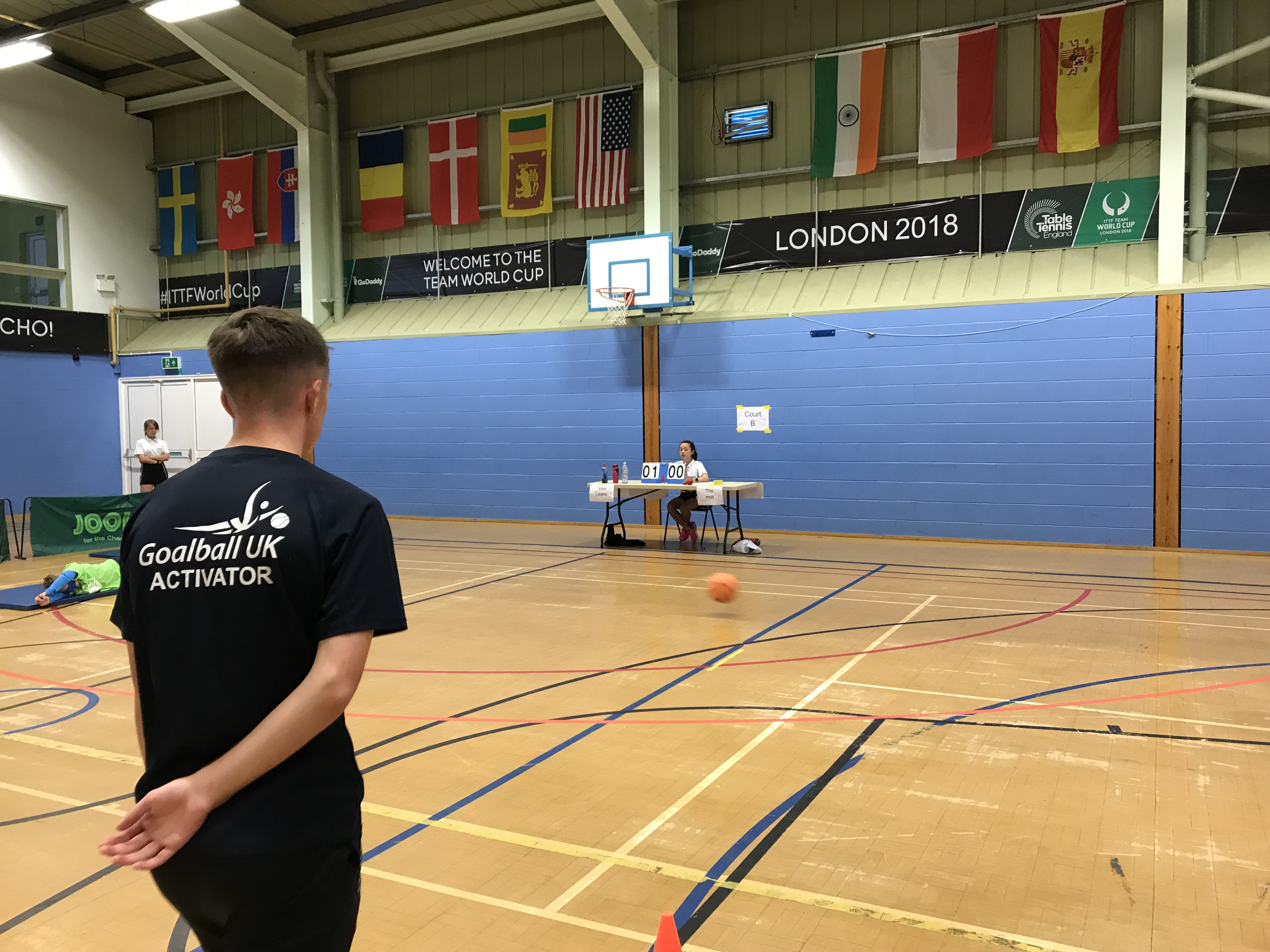 Action shot taken at Lincolnshire School Games, with Goalball UK Activator in foreground
