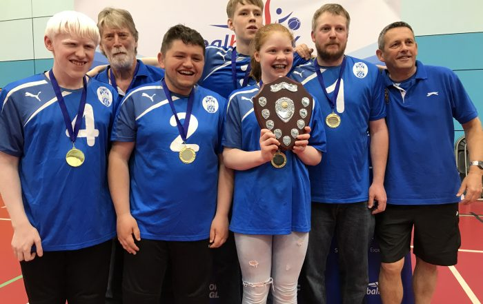Photo of Scarborough sporting their medals at the end of an Intermediate tournament