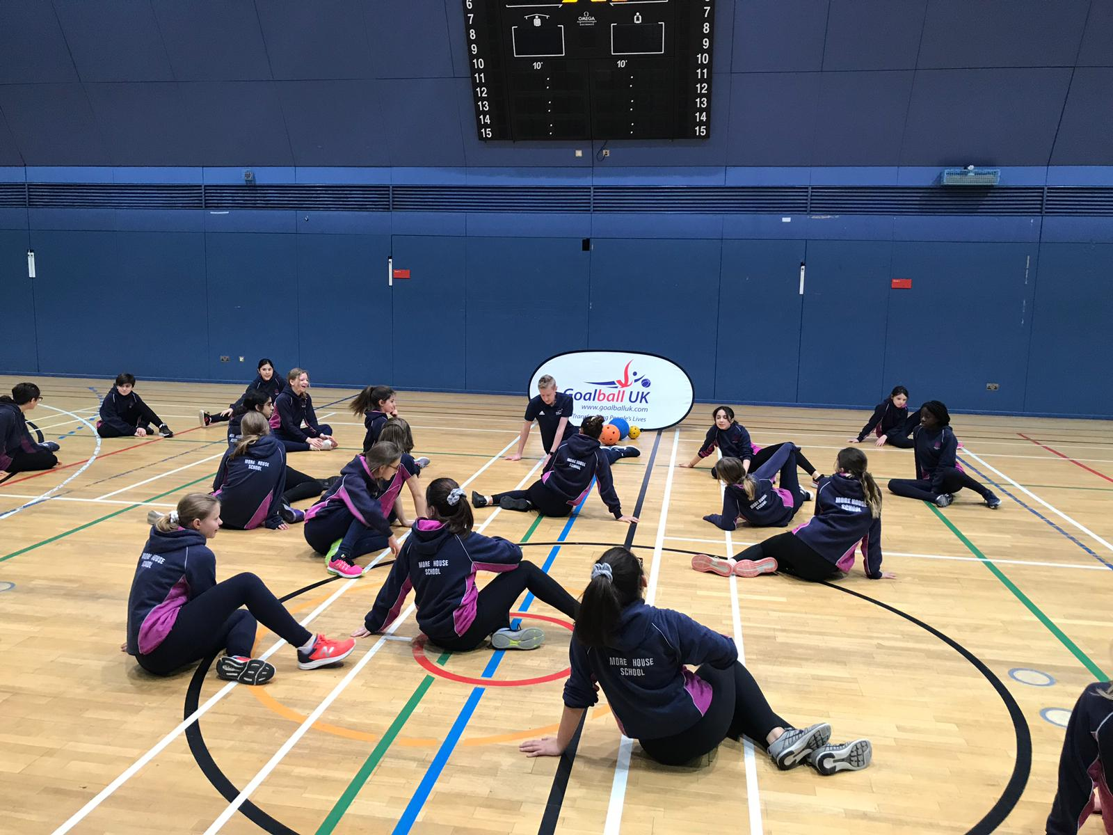 Group of school students practising their ready position