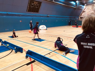 Action shot from Goalball UK School session in London