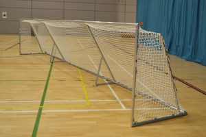 A goalball goal in a sportshall