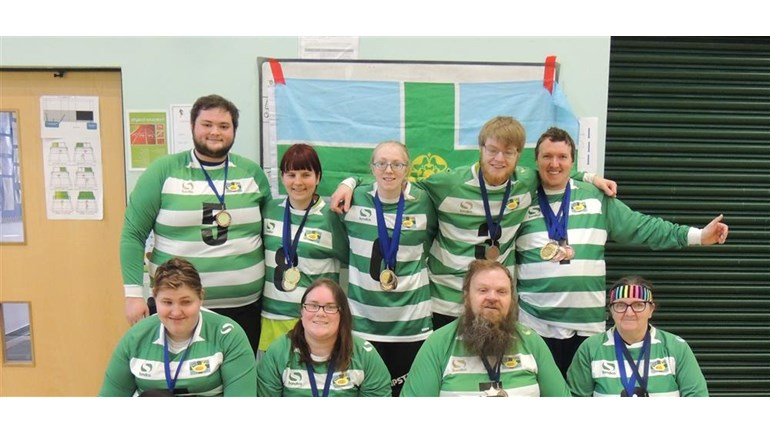 Team photograph of Derbyshire Ducks Goalball Club