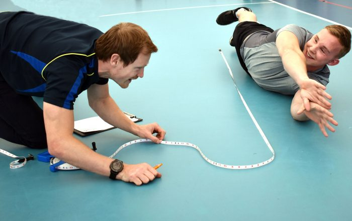 GB player Josh McEntee being measured whilst in his barrier position