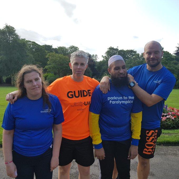 Louise, Kathryn, Ebrahim and Phil at Dewsbury parkrun