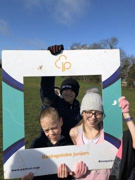 Bobbie-Jack, Loman and Chaeli at Basingstoke Junior parkrun