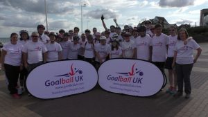 Group photo from Goalball UK's Coast to Coast challenge, 2015