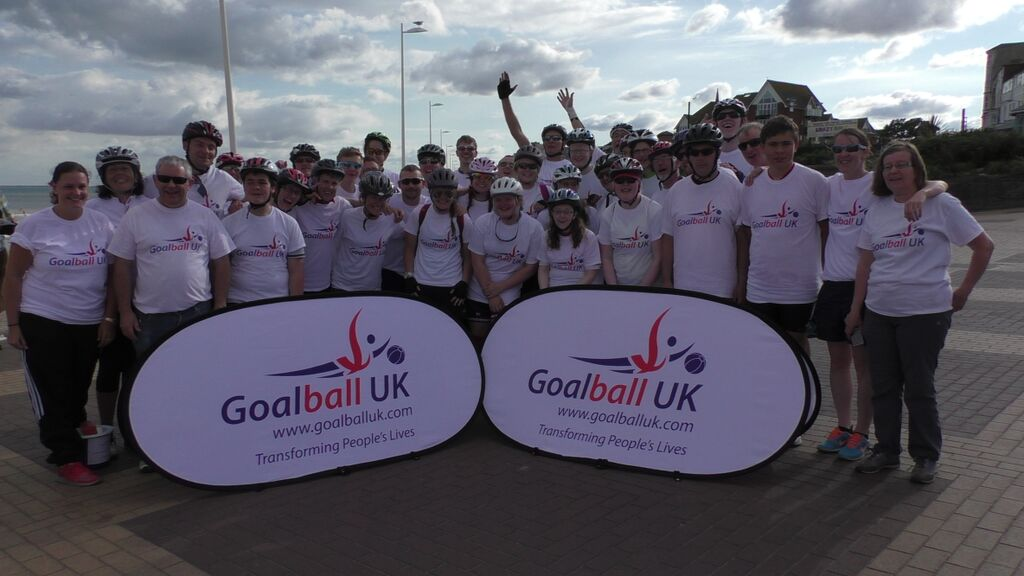 Group photo from Goalball UK's Coast to Coast challenge, 2015