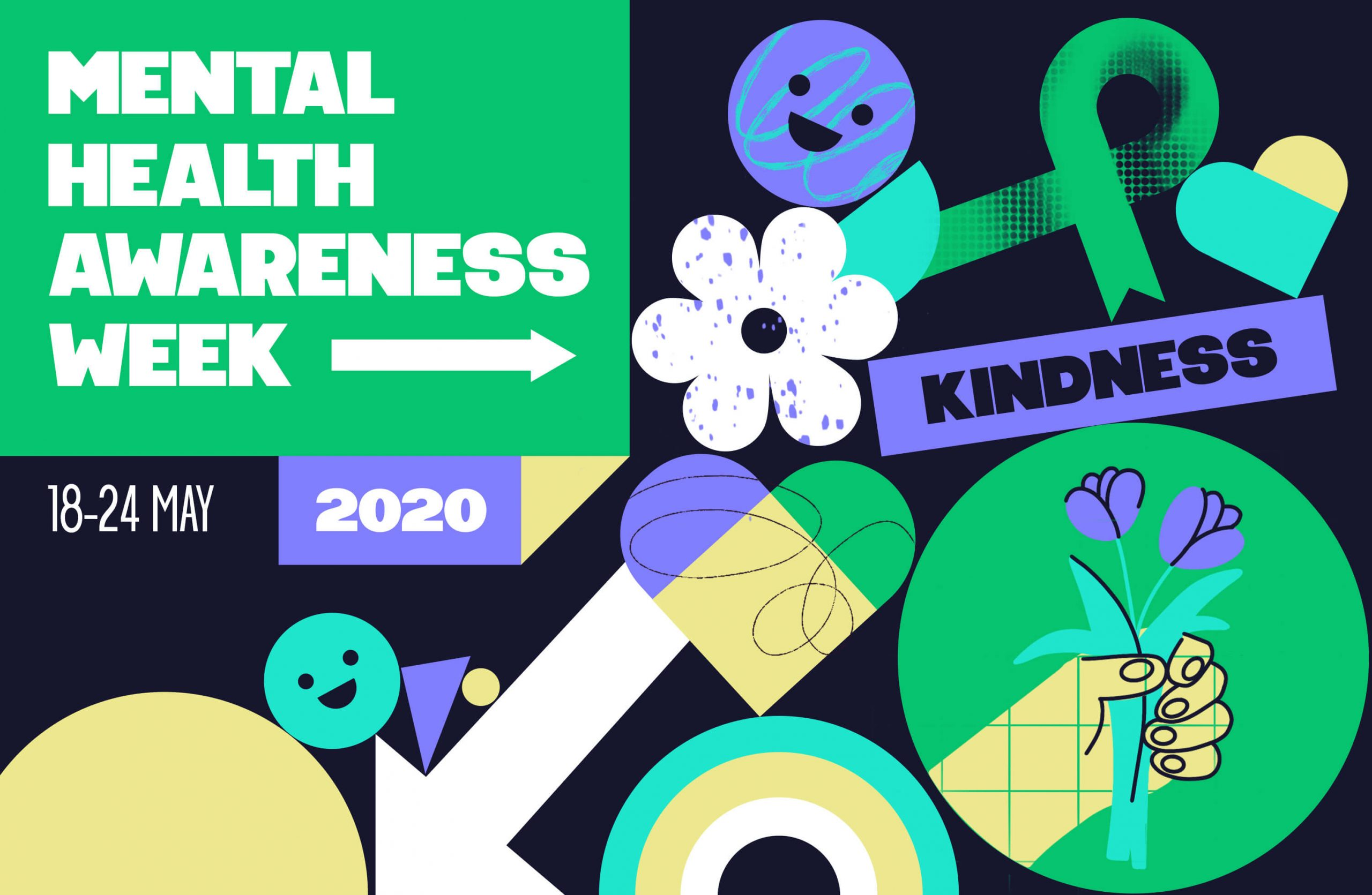 Mental Health Awareness week promotional image, with the word 'Kindness' as the focal point