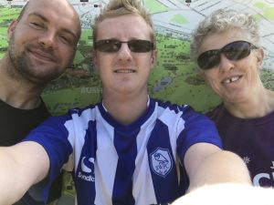 Selfie of Stephen, alongside Kathryn Fielding and Phil Green, at Bushy parkrun