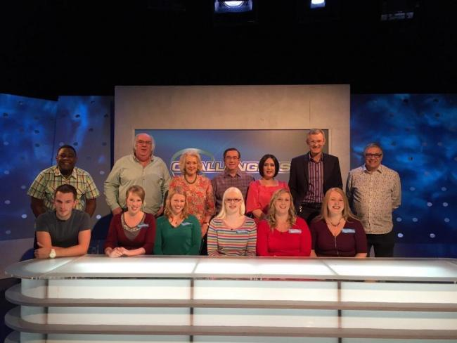 Image shows members of the women's GB goalball team on set with the eggheads.