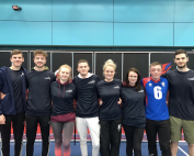 group photo of the volunteers who attended a recent goalball tournament