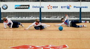 Image shows the GB Womens goalball team in action at the London 2012 Paralympics