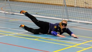 Kali in action on the goalball court