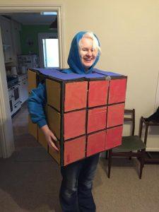 Karina Lang wearing a Rubik's cube outfit!