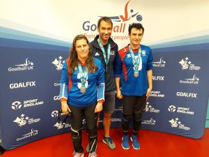 Louise Simpson, Steve Cox, and Anthon O'Keefe with thei Chester marathon medals.