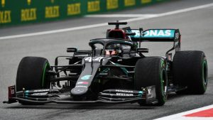Mercedes F1 racing car painted black in support of the #BlackLivesMatter movement.