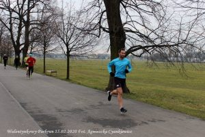 Steve running at a parkrun in Kraków, Poland.