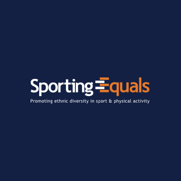 """Sporting Equals logo. Their accompanying slogan reads """"promoting ethnic diversity in sport and physical activity""""."""