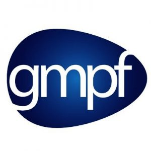 Greater Manchester Pension Fund logo. It has a dark blue background in the shape of a guitar pick with white writing of the first letter of each word 'g m p f'