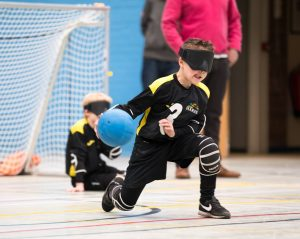 Norwich Hare player about to launch a rocket goalball shot at the juniors day.