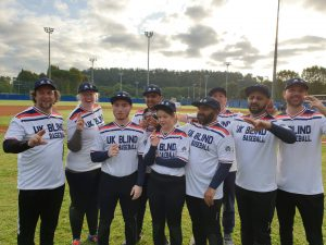 UK Blind Baseball Team Photo - Abu-bakr Ishtiaq is pictured at the back in the middle.