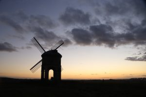 Chesterton windmill at sunset.