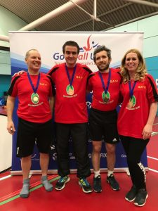 Merseyside Sharks Intermediate goalball team photo. This was taken post North region tournament with the team coming away with a bronze medal!