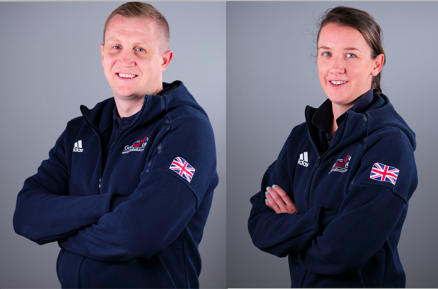 Aaron Ford and Faye Dale side by side in photos with their GB jackets on.
