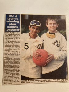 Newspaper article featuring two goalball players in Leicester. It discusses the development of goalball in the area.