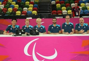 Image shows Judith and other officials sat together at the London 2012 Olympics