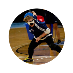 Kali Holder about to throw a goalball