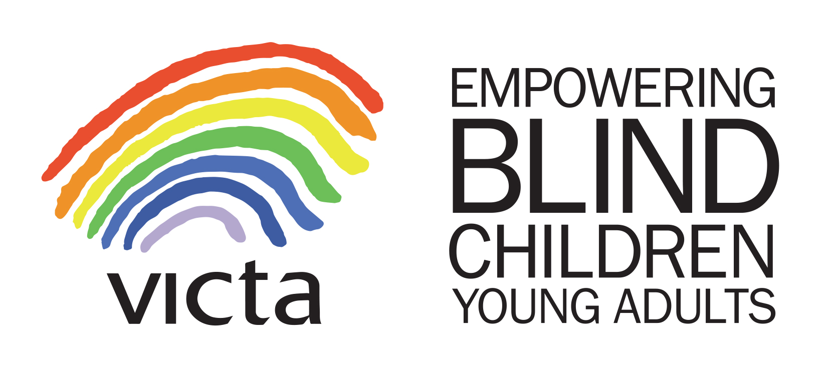 The VICTA logo which is a rainbow and text saying 'Empowering blind children and young adults'