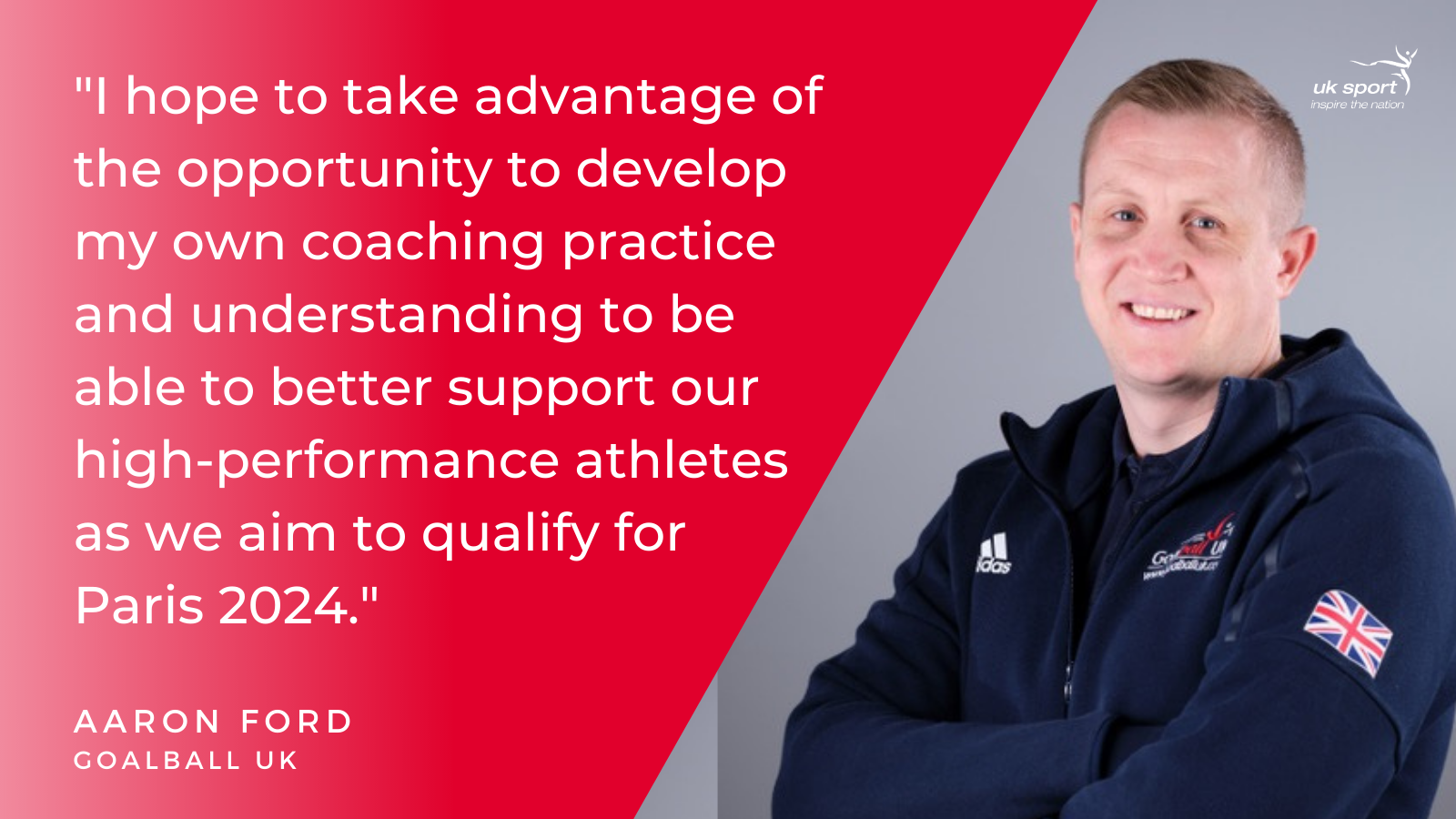 Aaron Ford, GB Women's Head Coach providing his thoughts on being accepted onto the high performance apprenticeship.