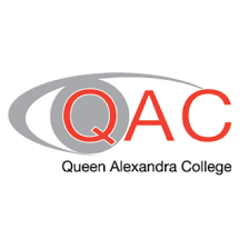 QAC logo - red capital letters surrounded by a grey eye shape and Queen Alexandra College written below