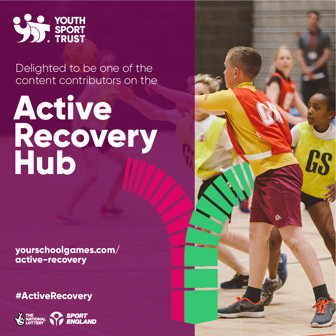 Image is of the Youth Sport Trust promotion photo for the Active Recovery Hub featuring children playing Netball