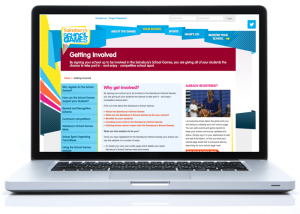 Image of the School Games website viewed on a laptop