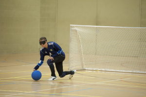 Image of a Goalball player ready to throw