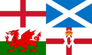 Collage of the home nations flags, starting at top left: England, Scotland, Wales and Northern Ireland